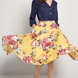 ModCloth Ikebana for All A-Line Skirt